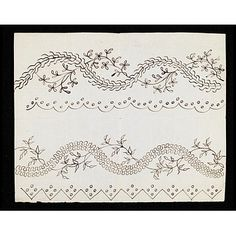 These are two designs, one above the other, for embroidery on muslin or gauze. They are for the border of a petticoat to a woman's open gown or for the border of the gown itself. The scalloped edge in the upper design and the serrated edge of the lower design formed the hem of the gown. 1782-1794 V