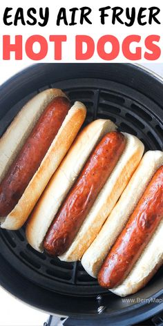 best air fryer hot dogs (with video!) - Berry&Maple The best air fryer hot dogs (with video!) - Berry&Maple,The best air fryer hot dogs (with video! Air Fryer Recipes Potatoes, Air Fryer Oven Recipes, Air Frier Recipes, Air Fryer Dinner Recipes, Air Fryer Hot Dog Recipe, Air Fryer Baked Potato, Dog Recipes, Cooking Recipes, Cooking Tips