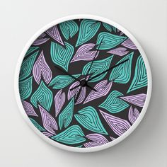 Winter Wind Wall Clock by Pom Graphic Design  - $30.00 #leaves #wind #nature #teal #turquoise #clock #wallclock #homedecor