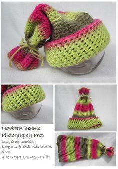 Newborn Beanie Fuchsia Crochet Photography Prop. by JollyKnots