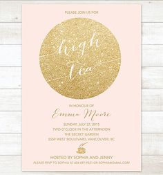 pink gold high tea invitation pink gold by pinkdahliaprintable