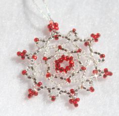 Red Snowflake Ornament - Great teacher gift, stocking stuffer, holiday decoration, winter wedding decoration or favor $12