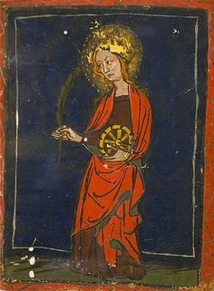 Sainte Catherine d'Alexandrie (confusion fréquente de sainte Marguerite avec saint Catherine) c.1400. France. Bib. de Toulouse.mg0012 by tony harrison, via Flickr