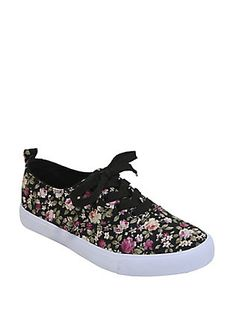 Black Floral Lace-Up Sneakers, BLACK