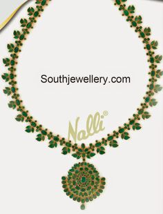Emerald Necklace latest jewelry designs - Page 11 of 59 - Indian Jewellery Designs Gold Earrings Designs, Beaded Jewelry Designs, Gold Jewellery Design, Necklace Designs, Jade Jewelry, Emerald Jewelry, Gemstone Jewelry, Blue Sapphire Necklace, Indian Jewelry
