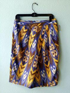 Tory Burch blue yellow pattern linen skirt 8 #blue #linen #pattern #skirt #tory-burch #yellow