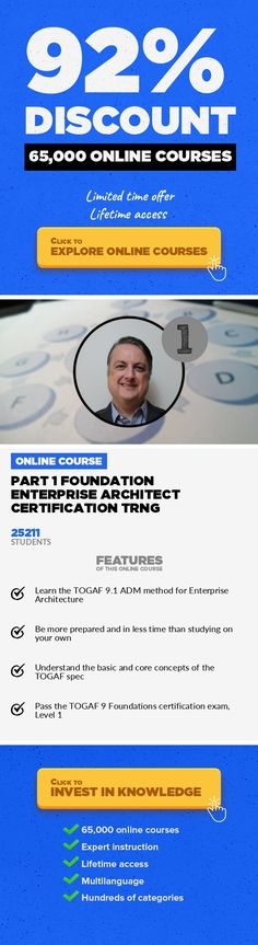 Part 1 Foundation Enterprise Architect Certification Trng Software Engineering, Development #onlinecourses #studyorganization #onlinebusinesswebsiteSoftware architecture certification with TOGAF® 9 Part 1 exam, to become TOGAF Foundation. >> The most active TOGAF® certification training course on Udemy, with an active discussion board, and English closed captions. All slides available for do...