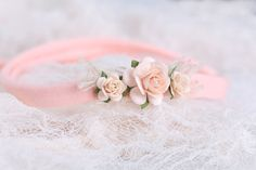 Pink pastels colors newborn headband, photography prop, newborn tieback, baby girl headband by LReverie on Etsy