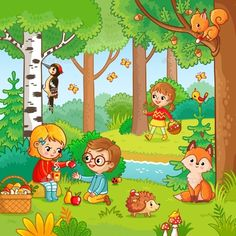 Buy Picnic in the Forest with Children by svaga on GraphicRiver. Picnic in the forest with children. Vector illustration with boy and girl who drink tea in cartoon style. Children in. Art Drawings For Kids, Drawing For Kids, Art For Kids, Picture Comprehension, Picture Composition, School Themes, Cartoon Styles, Drinking Tea, Boy Or Girl