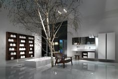 Marble bathroom with indoor tree