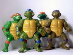 All 4 - Raph Don Mike Leo 1988 Vintage Teenage Mutant Ninja Turtle - My oldest son was SO into these guys.