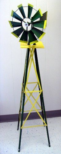 4-1/2' Decorative Windmill Green with Yellow Tips . $39.00. Weather Vane - Indicates Wind Direction. Easy to assemble. Rotating Wheel - Indicates Wind Speed. 4-1/2' Decorative/Ornamental Windmill. Ideal for Planters, Flower Gardens, Displays, Yard Decor. 4 1/2' Ornamental/Decorative Windmill; Green with yellow tips. Minimal Assembly required. For use in any lawn & garden atmosphere. Heavy Duty Steel with rust resistant finish.