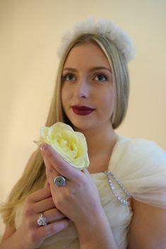 Bride wears a stylish Silver Watch Ring from de Caron.