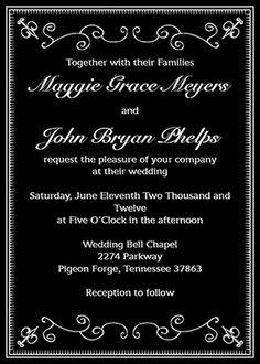 Wedding Invitations - Formal Black and White Design