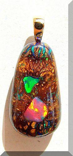 Opals-On-Black -  Matrix Gem Boulder Inlay Opal Pendant P134BY