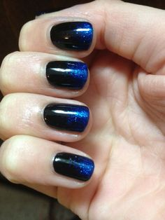 blue glitter on black--this is on my toes right now, but the glitter is purple <3