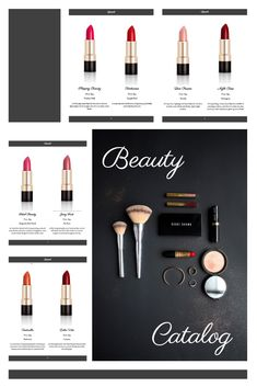 Organize all the necessary info about your makeup products with this fancy catalog template. You can quickly and easily add your logo, photos, product description, contact information, and many more. All Catalog Machine templates are fully customizable and absolutely free. You can also create both digital and PDF catalogs at the same time. Click the link to design your catalog! Product Catalog Template, Grid, Makeup Products, Makeup Yourself, Organize, Product Description, Fancy, Cosmetics, Templates