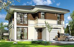 Projekt domu piętrowego Tytan o pow. 134,26 m2 z garażem 1-st., z dachem kopertowym, z tarasem, z wejściem od południa, sprawdź! Duplex House Plans, Modern House Plans, Villa Plan, House Front Design, House Elevation, Architect House, Home Look, Home Fashion, Home Projects