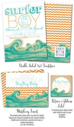 Surfer Baby shower, Baby on Board, surfer baby shower invitations, Surfer invites, Party Box Design