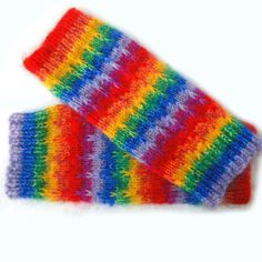 CHUNKY HAND KNITTED LUXURY LEG WARMERS DESIGNER LEGGINGS RAINBOW MOHAIR