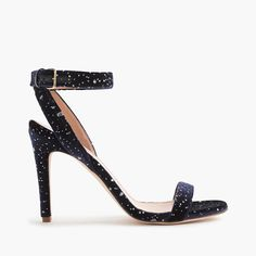 "Lush velvet + skinny straps = our dreamiest sandal. This one's flecked with metallic dots for some party-perfect shimmer. <ul><li>3 7/8"" heel.</li><li>Poly, cotton, spandex upper.</li><li>Leather lining and sole.</li><li>Made in Italy.</li><li>Online only.</li></ul>"