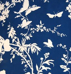 navy and white butterfly and floral vintage wallpaper - reserve for Kathy. $100.00, via Etsy.-foyer wallpaper