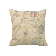 Vintage Northern Virginia Civil War Map (1862) Pillows from Zazzle.com $62.40