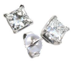 Classic   Diamond solitaire princess cut earrings 0.50ct tdw   #dazzling #diamonds #earrings   Hannoush Jewelers