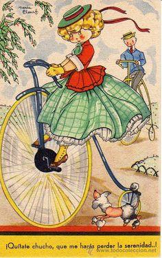 Mari Pepa - vintage illustration penny farthing bicycle. Excited little poodle.