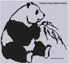 Panda 4 Cross Stitch Pattern by MotherBeeDesigns on Etsy