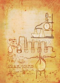 Stock image of 'Old chemistry laboratory background in vintage style'