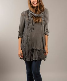 This Gray Floral Lace Roll-Tab Sleeve Tunic & Scarf is perfect! #zulilyfinds