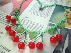 Fabulous red cherry 1940s  50s style necklace handmade by Luxulite, $35.00