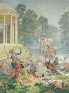 Maurice LELOIR (1853-1940) Les quatre saisons à Versailles et au Trianon Le Temple de l'Amour Huile sur toile signée en bas à gauche. 262 x 203 cm Restauration