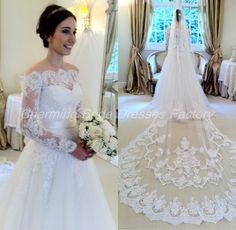 China Long Sleeve Lace Wedding Dresses vestidos para festa de casamento Bow Back Lace Bridal Gowns A Line Dress 2015 Custom Made