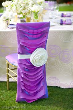 Wildflower Linen Radiant Orchid Chair Sleeve Covers is a perfect pop for the spring! Photography by Gene Higa Photography; Florals by Enchanted Florists