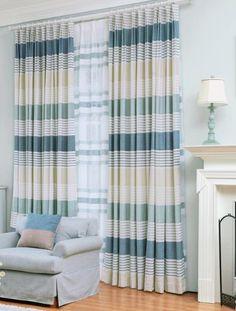 Blue Horizontal Striped Print Chenille Pinch Pleated Modern Curtains for Bedroom