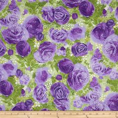 Blissful Moments Large Floral Purple from @fabricdotcom  Designed by Daria Jabenko for P & B Textiles, this cotton print fabric is perfect for quilting, apparel and home decor accents. Colors include cream and shades of green and purple.