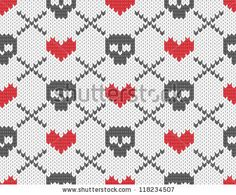 Seamless knitted pattern with skulls and hearts. EPS 10 vector illustration.