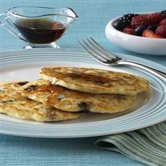 Banana-Oat Pancakes with Blackberry Syrup.  I skipped the vegetable oil and added two mashed bananas, cinnamon, nutmeg and a pinch of ground ginger.    For the syrup: muddle a handful of blackberries in with 1/2 cup maple syrup for a unique flavor punch.