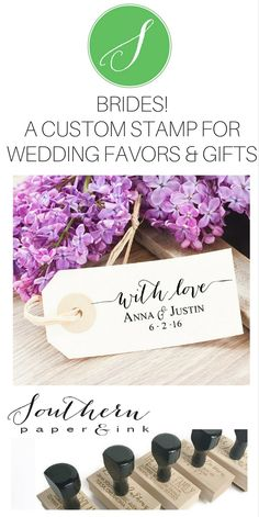 A Personalized With Love Wedding Stamp is the perfect way to customize your wedding favors. Shop Southern Paper and Ink on Etsy.