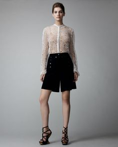 Alexander McQueen Sheer Barnacle Lace Blouse & Crepe Sailor Shorts