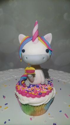 Unicorn Cupcake Birthday Topper based on a design by Crumb Avenue