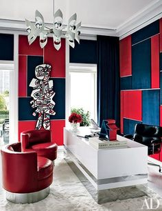 Tommy Hilfiger invites Architectural Digest and photographer Douglas Friedman (Bernstein & Andriulli) into his Miami Home. Douglas shot Mr Hilfiger and his wife Dee together at their lavish Miami address. Home Office Design, Office Decor, House Design, Design Design, Design Trends, Design Ideas, Red Office, Office Ideas, Study Design
