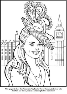 Kate, the Duchess of Cambridge Royal Fashions Coloring Book By: Eileen Rudisill Miller -  Dover Publications -  Coloring Page  1