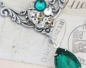 Steampunk style, Aqua and silver necklace