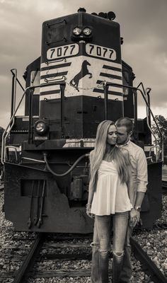 Engagement photos, for the railroad tracks in Old Town Clifton.