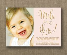 Blush pink & gold glitter look First Birthday baby girl Invitations with photo! digibuddha.com