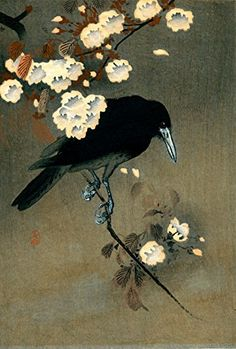 "Japanese Art Print ""Crow and Blossoms"" by Ohara Koson. Shin Hanga and Art Reproductions http://www.amazon.com/dp/B016WGYBZA/ref=cm_sw_r_pi_dp_KTxswb1Q00JNW"