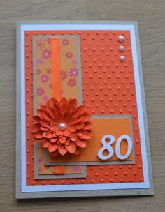 80th Birthday card w/Flower
